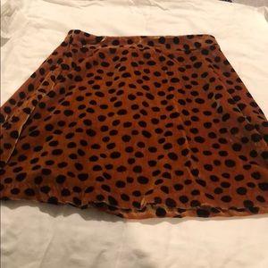Madewell velvet leopard print skirt